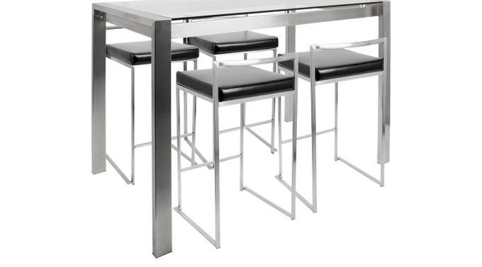 Sora Black Counter Height Table Set - Glass Top - Contemporary