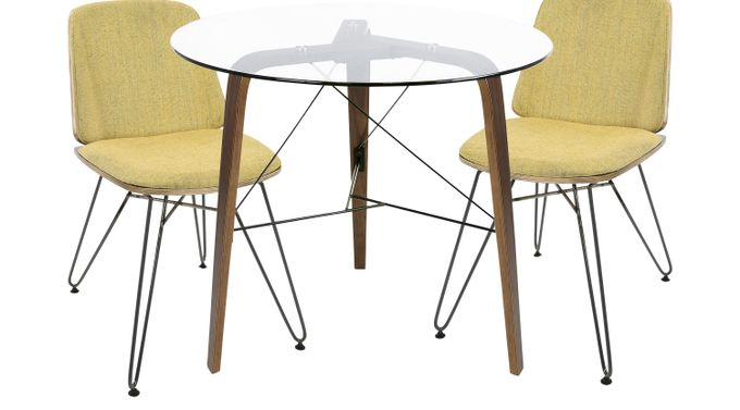 Venning Walnut (dark brown)  3 Pc Round Dining Set - Glass Top