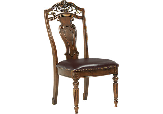 Handly manor pecan grayish brown wood back side chair for Pecan wood furniture dining room