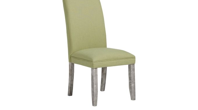 Tulip Kiwi (light green)  Side Chair with Gray Legs - Upholstered - Contemporary