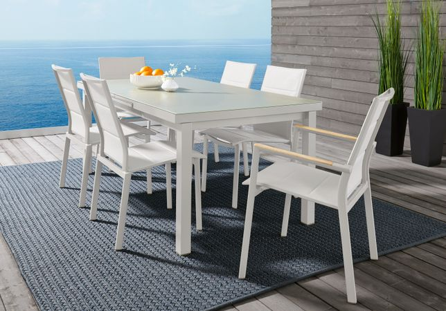 Solana White 7 Pc 70-94 in. Rectangle Outdoor Dining Set, Aluminum