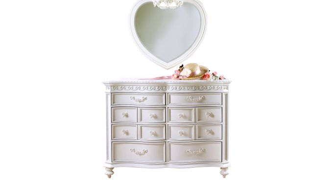 Disney Princess White 8 Drawer Dresser & Heart Mirror Set