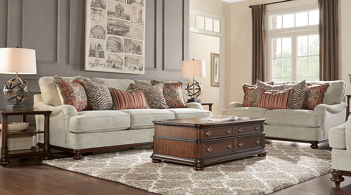 Beige, Brown & Gray Living Room Furniture & Decorating Ideas