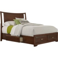 Picture of a wood framed queen bed