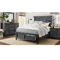 Picture of a queen size black bedroom furniture set