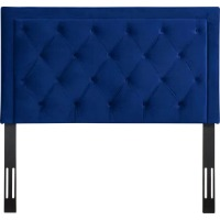 Picture of a blue tufted headboard