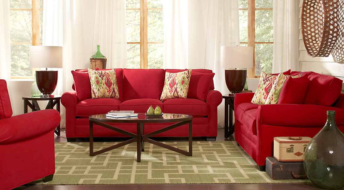 Red Living Room: Room Inspiration: Red, White & Beige Colored Living Room