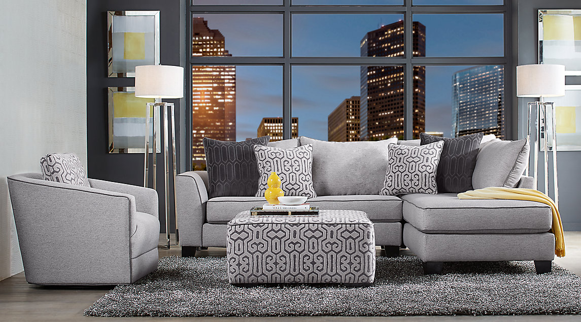 Ashford Landing Living Room Set Gray Sectional With Dark Track Arms And  Block Legs Gray And White Accent Pillows With Matching