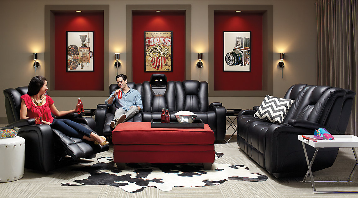 Black, Gray & Red Living Room Furniture & Decorating Ideas