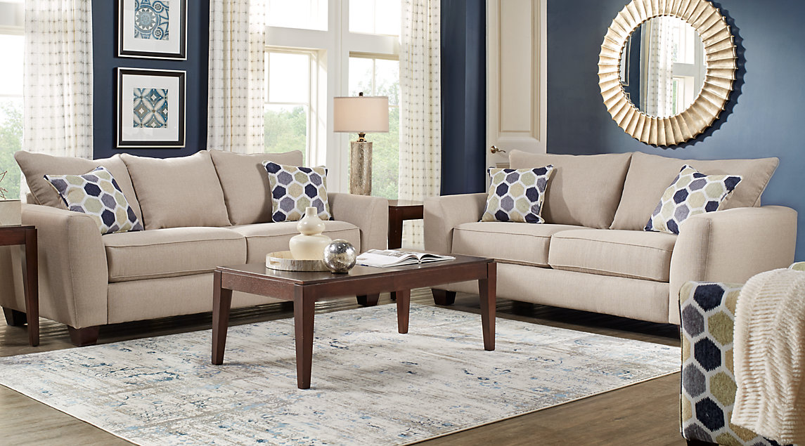 Beige, Brown & Blue Living Room Furniture: Ideas & Decor