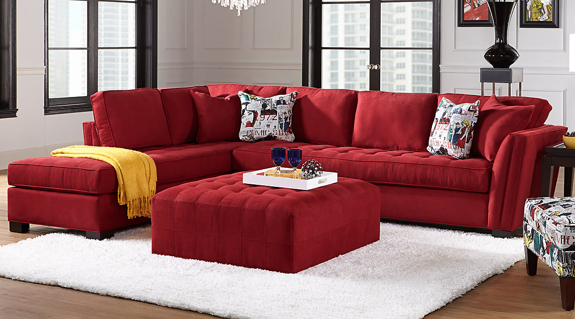 Cindy Crawford Living Room Set Red Tufted Sectional With Chaise Comic Printed Accent Pillows Matching Ottoman