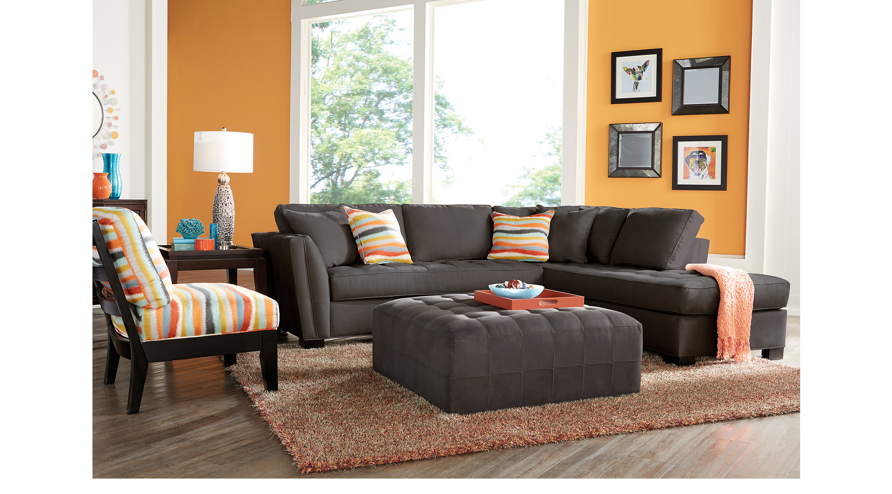 Orange Gray Living Room Inspiration Ideas For Decorating