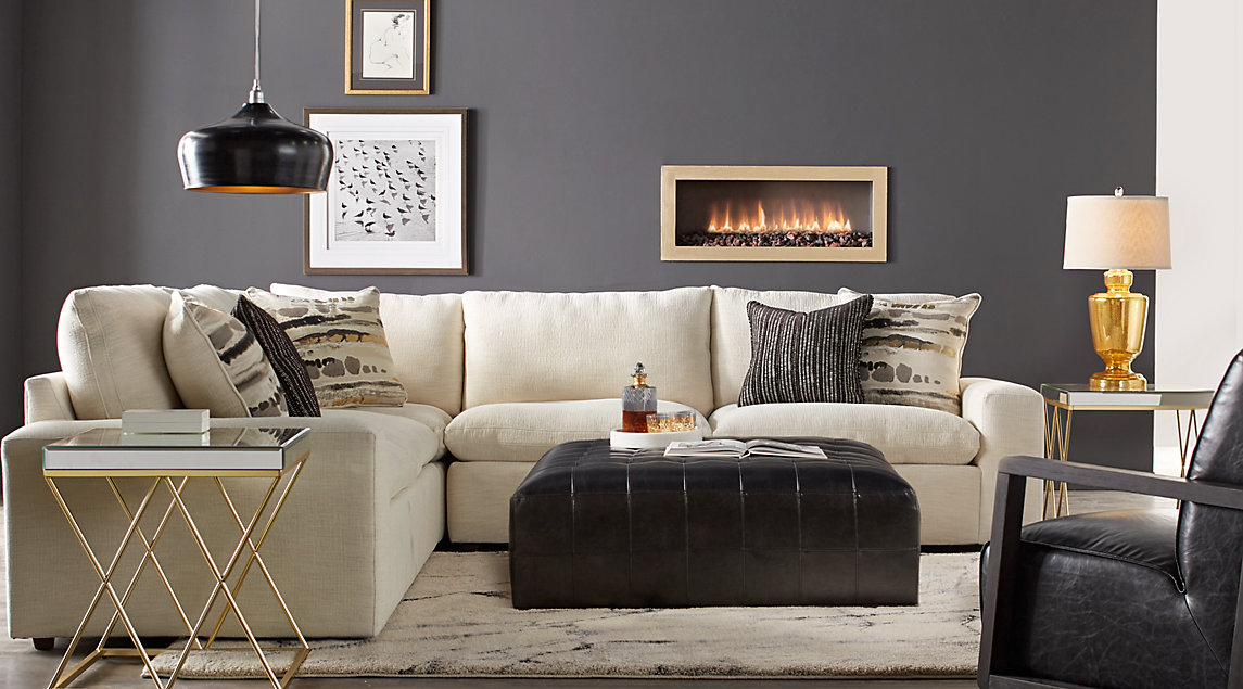 Black Gray Ivory Living Room Furniture Decorating Ideas
