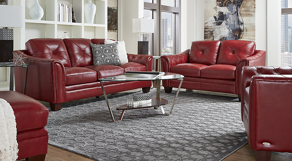 Cindy Crawford living room set with red leather sofa, loveseat and chair