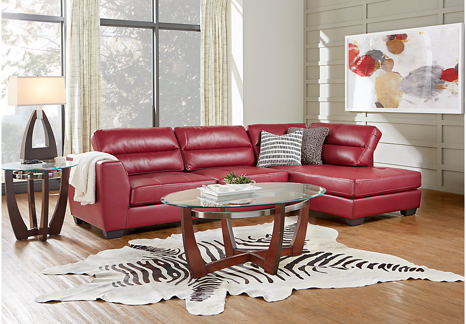 Congress Street living room set with red sectional
