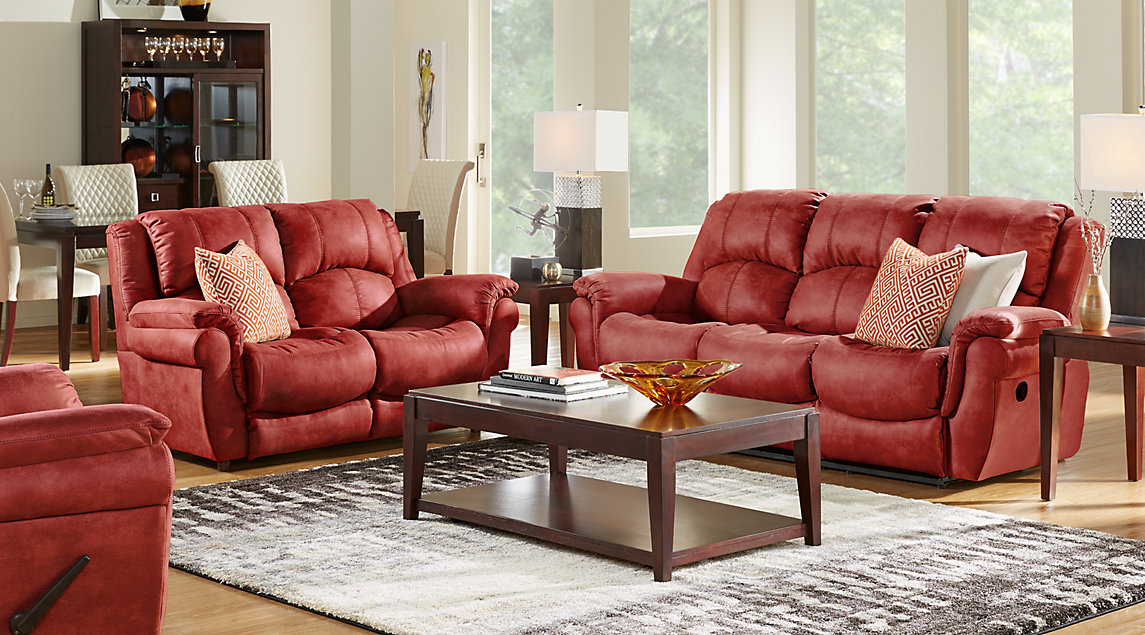 Corbin living room set with red reclining sofa and loveseat