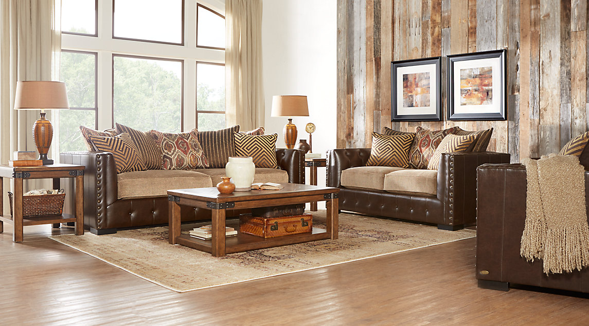 Beige, Brown & White Living Room Furniture: Decorating Ideas