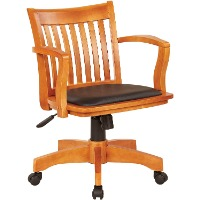 Picture of a light wood home office bankers chair with a brown seat cushion