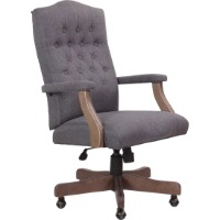 Picture of a gray tufted upholstered executive office chair with wooden arms and legs