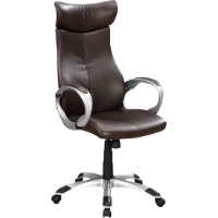 Picture of a brown leather upholstered high back office chair with metal arms and legs