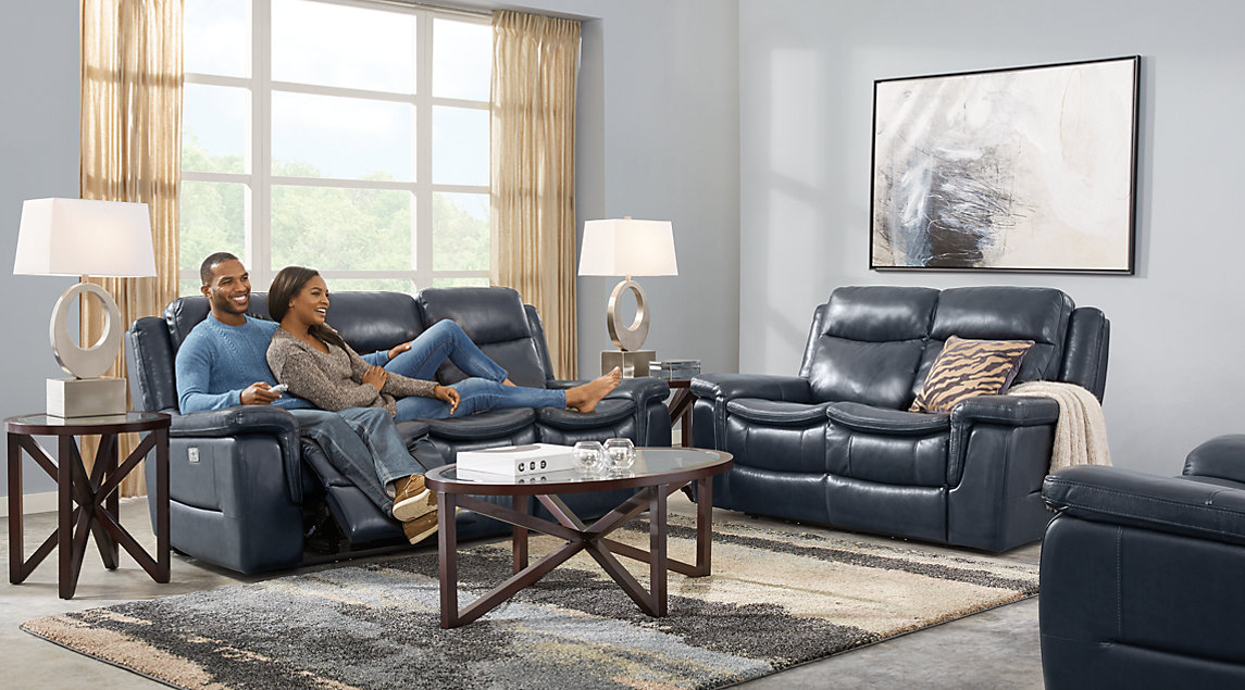 Navy blue gray white living room furniture ideas decor - Living spaces living room sets ...