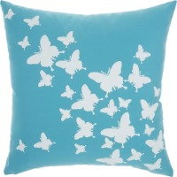 Picture of a blue throw pillow with white butterflies printed on it