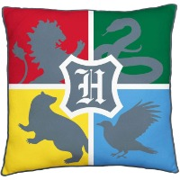 Picture of a Harry Potter throw pillow with each house's sign printed on the front.