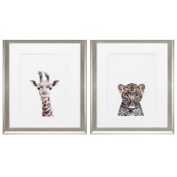 Picture of a giraffe head drawing and a leopard head drawing.