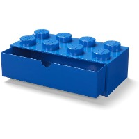 Picture of a blue lego shaped storage container with one drawer.