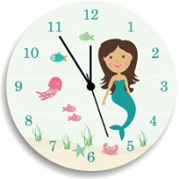 Picture of a round analog clock with a mermaid background.