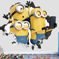 Picture of a wall decal with 3 Minions.