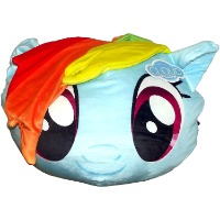 Picture of a blue pony head with a rainbow colored mane from My Little Pony.