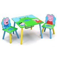 Picture of a Peppa Pig kids table and 2 chair set.