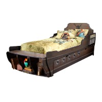 Picture of a brown pirate ship kids bed