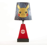Picture of a Pokemon table lamp with Pikachu on the lamp shade.
