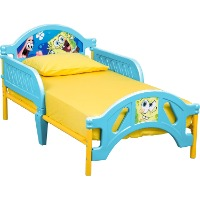 Picture of a toddler sized Spongebob Squarepants bed.