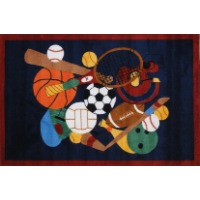 Picture of a kids sports themed area rug.