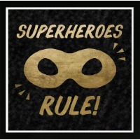 Picture of a kids area rug that reads Superheroes Rule.