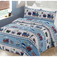 Picture of a train themed bedding set for kids