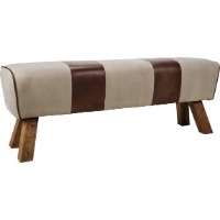 Picture of a white and brown backless accent bench