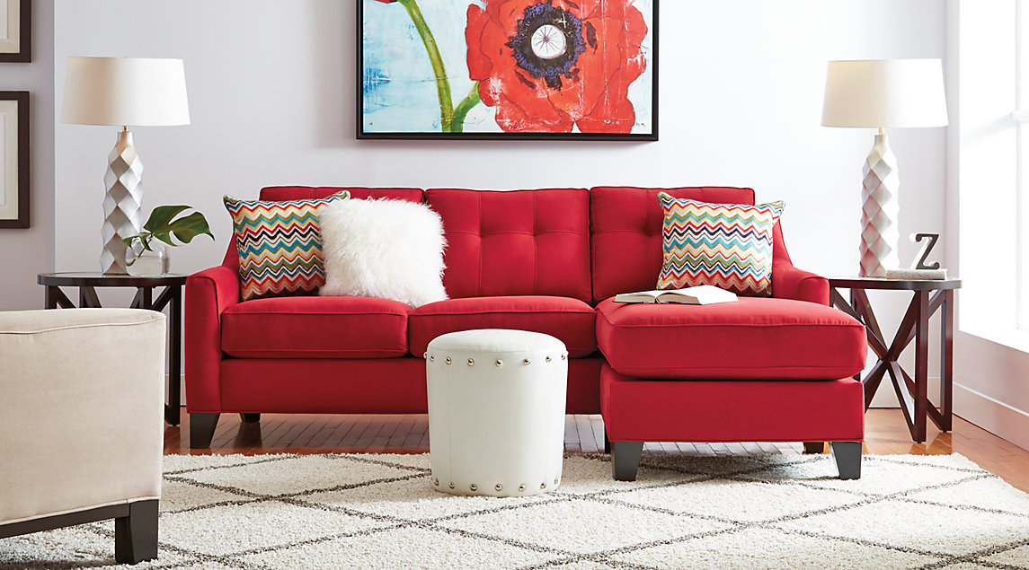 Madison Place living room set with red sectional, beige chair and ottoman