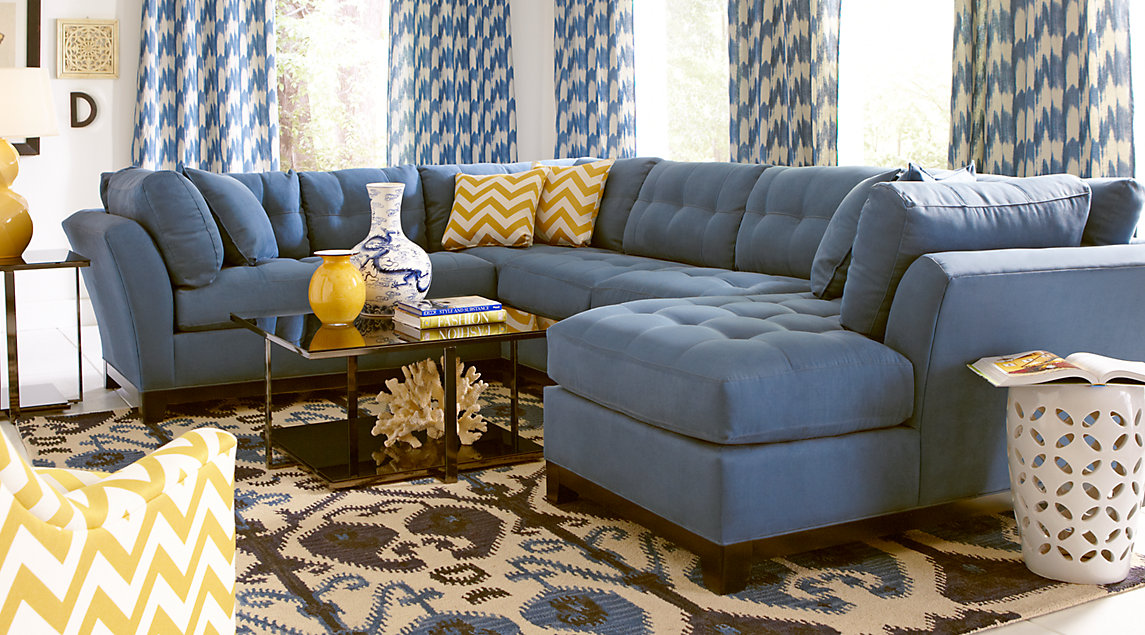 Cindy Crawford Living Room Set With Blue Sectional
