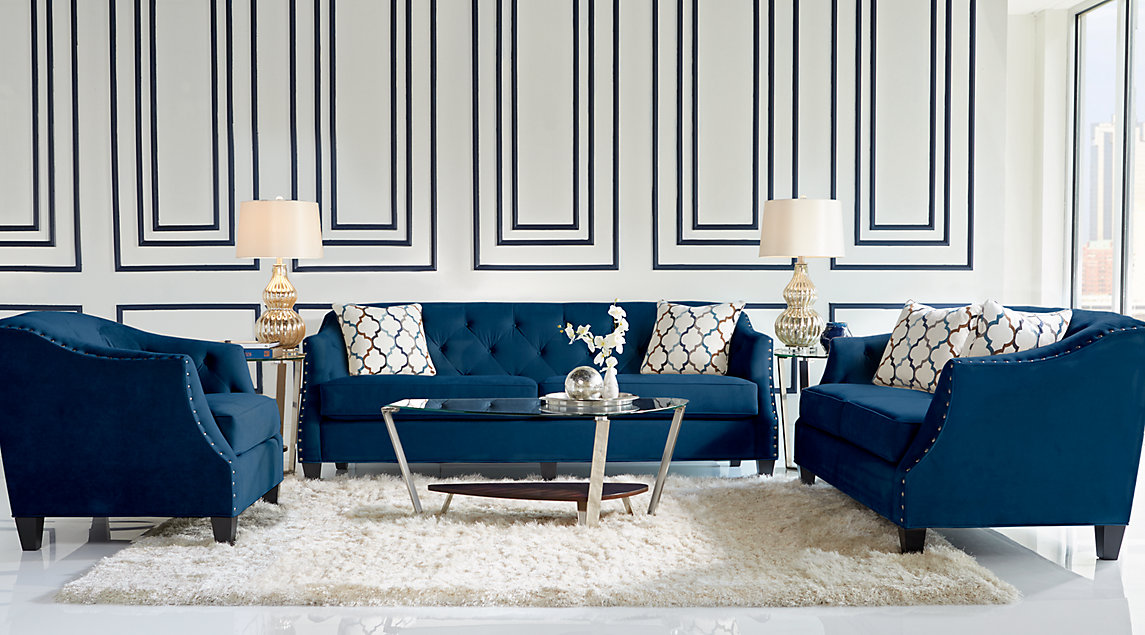Living room inspiration white gray navy blue living rooms for Navy blue family room