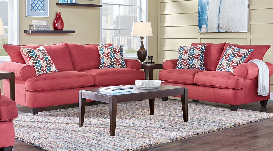 Park Square Living Room Set With Red Sofa And Loveseat