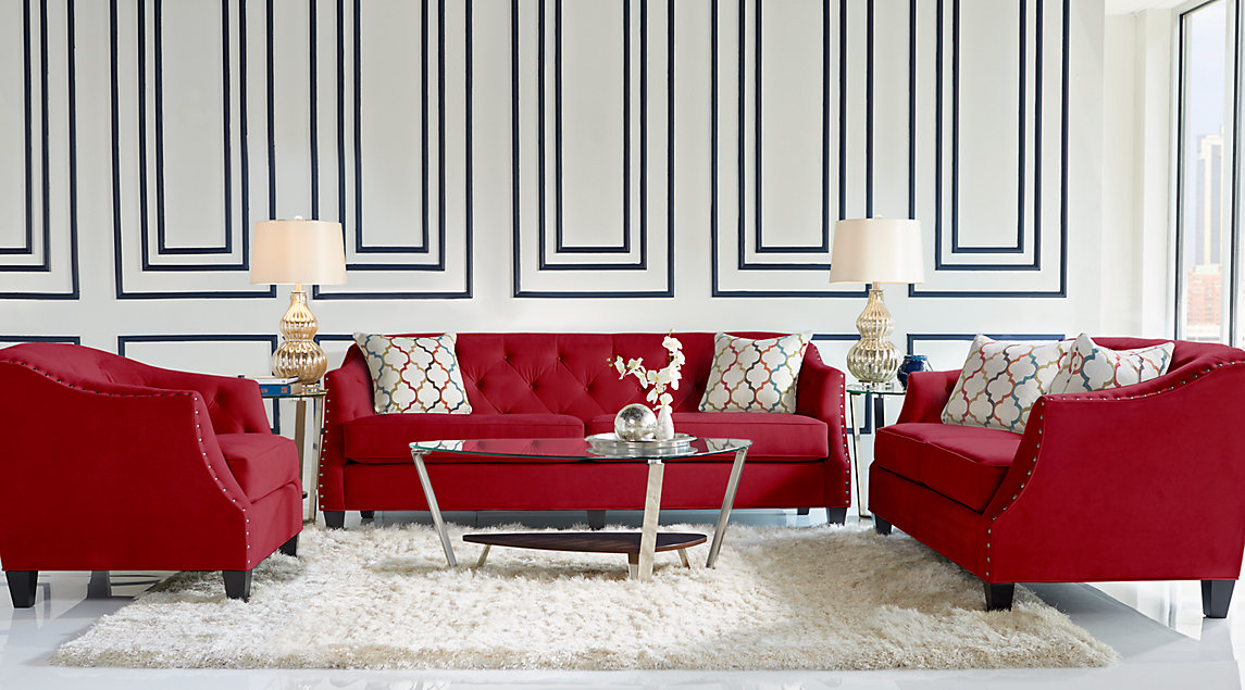 Sofia Vergara living room set with tufted red sofa, loveseat and chair