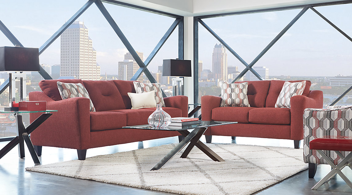 Sunset Boulevard living room set with red sofa and loveseat
