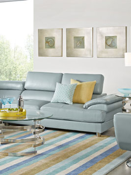 These Three Rooms Have Virtually The Same Color Sofa In A Soft Hydra  Blue Green With Completely Different Overall Effect. In The First Room, The  Sectional ...