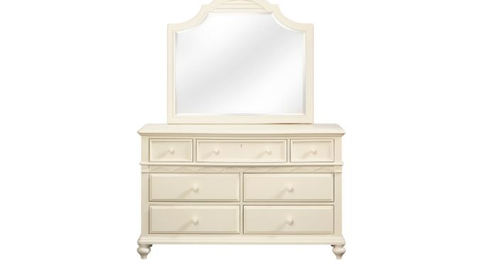Emma's Escape White WAsh (gray)  Dresser & Landscape Mirror