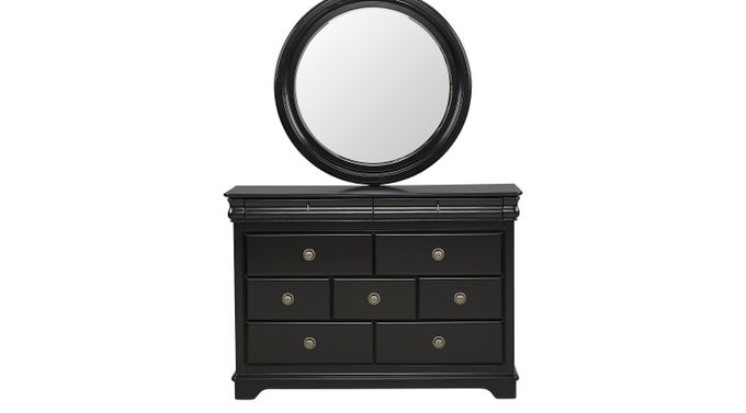 Oberon Black Dresser & Mirror Set