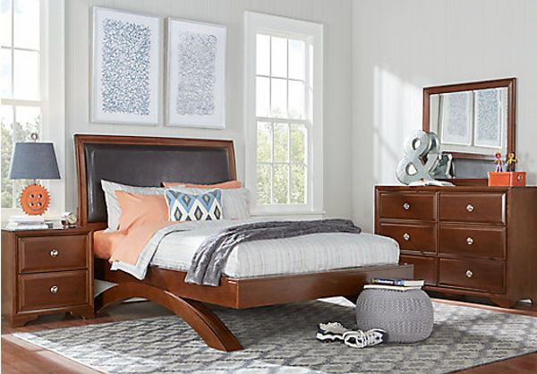 cherry bedroom furniture. Belcourt Jr. Cherry 5 Pc Full Bedroom With Upholstered Inset AndArched Base Furniture